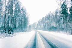 snowy land road - stock photo