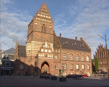 Former city hall of Roskilde + pan city square and cathedral of St Luke Stock Footage