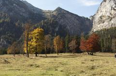 autumnal mood, mountains in the grosser ahornboden in eng, risstal valley, au - stock photo