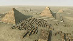 Rotating above a 3D animation of the Giza platform Egypt. Loop-able Stock Footage