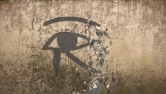 Eye of horus falls out of an old wall Stock Footage