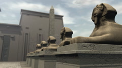 A row of sphinx statues at a temple in ancient Egypt Stock Footage