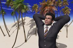 computer generated image of a businessman on a desert island - stock illustration