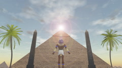 Animation of the egyptian god Horus standing before a pyramid - stock footage