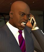 computer generated illustration of a businessman shouting on his mobile phone - stock illustration
