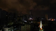 Kaohsiung 85 Building at night from balcony - wide Stock Footage