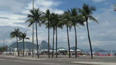 Rio Copacabana with palm trees and distant sugarloaf s Stock Footage