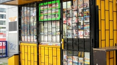 Newsagent on the street - barred Stock Footage
