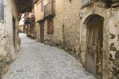 troodos mountains, village road, cyprus - stock photo