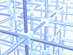 Three dimensional grid construction out of blue metallic cubes and rods, 3d i Stock Illustration