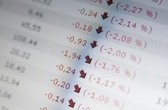 Falling share rates Stock Photos