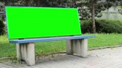 Outdoor bench - billboard - green screen  Stock Footage