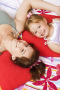 Sisters, little girl, 4 years, with girl, 17 years Stock Photos