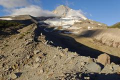 eastern flank of mount hood volcano with elliot glacier, cooper spur trail, c - stock photo
