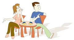 illustration, couple having a discussion, argument in a cafe - stock illustration