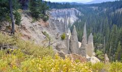 Stock Photo of the pinnacles\', tourist attraction of crater lake national park, oregon, usa