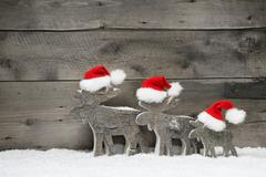 Three mooses or reindeer wearing a red santa hat on grey wooden background Kuvituskuvat