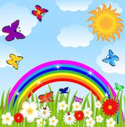 Stock Illustration of floral glade, butterflies and bright rainbow
