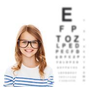 smiling cute little girl with black eyeglasses - stock illustration