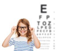 Smiling cute little girl with black eyeglasses Stock Illustration
