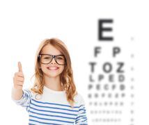 Little girl with black eyeglasses Stock Illustration