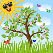 tree, sun in dark glasses and  butterfly,vector illustration - stock illustration
