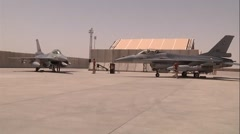F-16 fighter jets from  Royal Netherlands Air Force Leave Camp Marmal Stock Footage