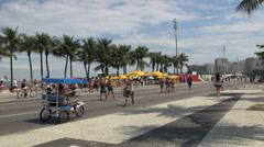 Rio de Janeiro Rio Copacabana Sunday street scene s Stock Footage