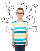 Smiling little boy in eyeglasses Stock Illustration