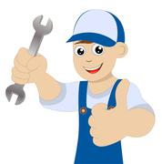 man a locksmith with a wrench in hand - stock illustration