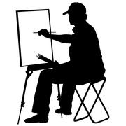 Silhouette, artist at work on a white background, vector illustr Stock Illustration