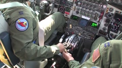 127th Wing KC-135 stratotanker pilots in cockpit Stock Footage