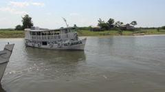 Brazil Amazon backwater near  Santarem boats comming along side s Stock Footage