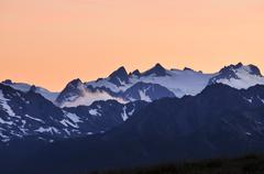 Stock Photo of glaciated chain of mountains with mt olympus, olympic peninsula, nationalpark