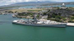Aerial view of ships moored at Joint Base Pearl Harbor-Hickam and Oahu Stock Footage