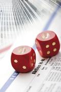 Dice with 0-lettering, stock market crash, stock price, symbolic picture Kuvituskuvat