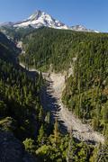 Valley, eastern side of the mount hood volcano, cloud cap road, cascade range Stock Photos