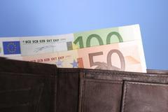 Euro-bills in wallet Stock Photos