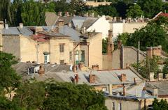Roofs of odessa old town, famous european city in eastern europe,ukraine Stock Photos