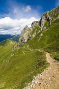 mountain ridge and hiking trail in the eisenerz alps towards reichenstein, ei - stock photo