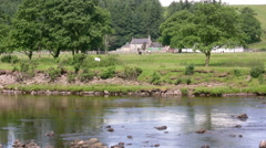 River South Tyne and farm Stock Footage
