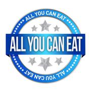 Stock Illustration of all you can eat sign illustration design