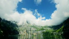 Time lapse of cloudscape. see lake water. mountain panorama view Stock Footage