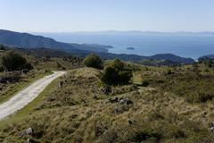 sandy track in the abel tasman national park with a view of marlborough sound - stock photo