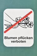 Sign, picking flowers is forbidden Stock Photos