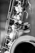 impression of an old saxophone, section - stock photo