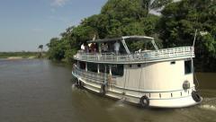 Brazil Amazon backwater near Santarem back of river boat s - stock footage