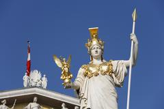 Pallas athene with nike in front of parliament building, vienna, austria, eur Stock Photos