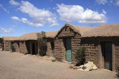 Traditional clay brick village cangrejillos in the andes, in the puna, provin Stock Photos