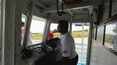 Brazil Amazon backwater near Santarem boat pilot c Stock Footage